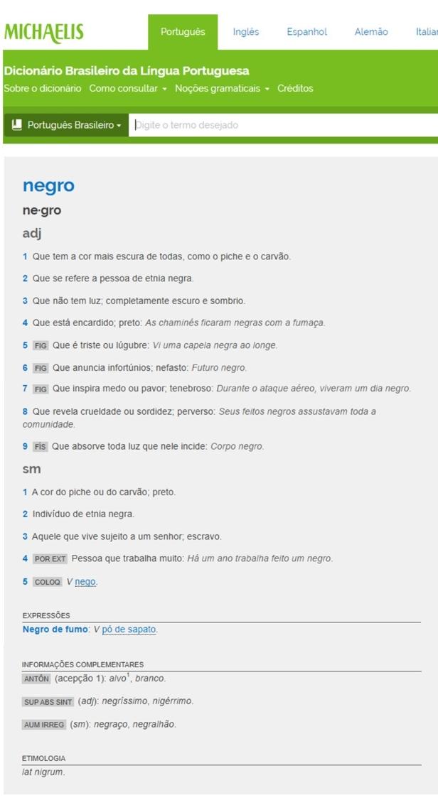 Negro - Michaelis